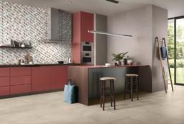 cuisine moderne avec une crédence à motif colorée