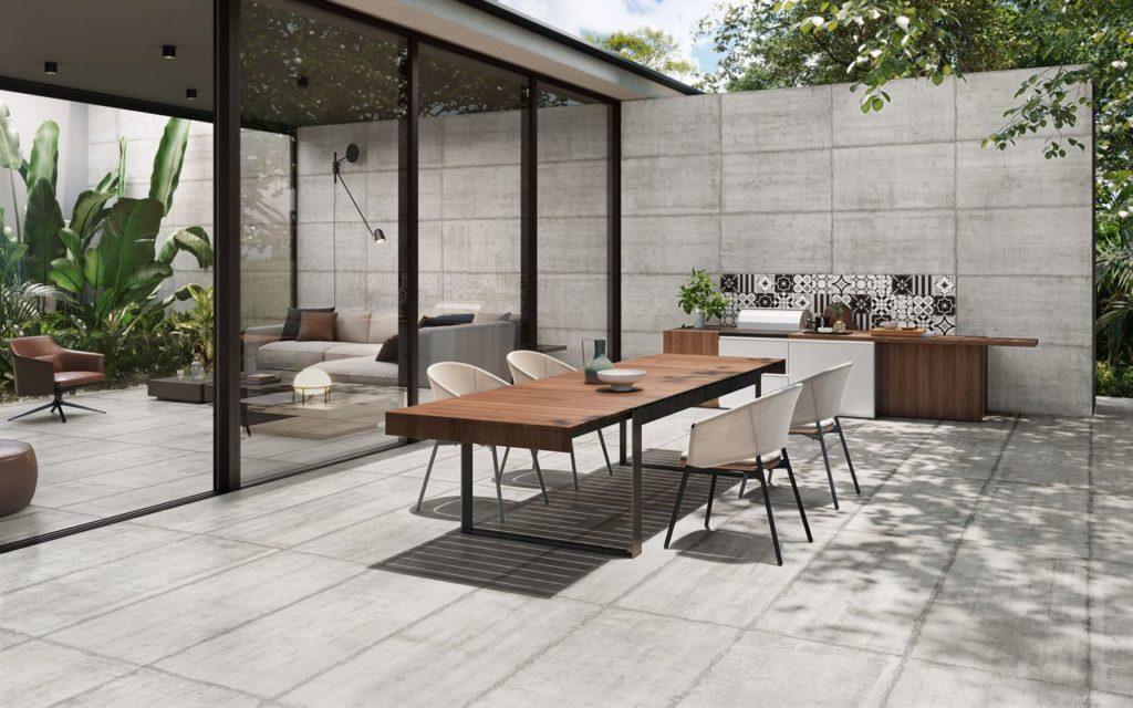 Terrasse moderne carrelage imitation béton